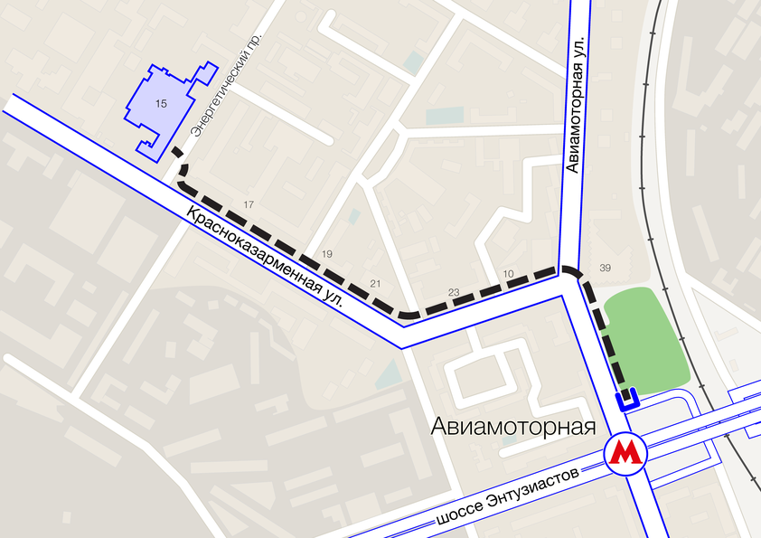 Карта проезда м. Авиамоторная